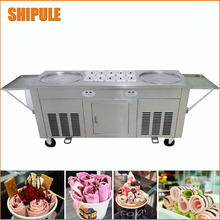 Double round Pans 2 round Pans Ice Cream Roll Making Machine with Salad Fruit 10pcs Cooling Tanks fried ice cream machine