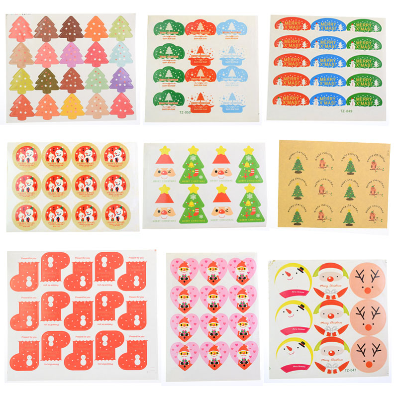 Hand made Christmas Snowman Tree Scrapbooking Paper Labels Envelopes Packaging Seals Sticker DIY For Cake Box Wrapping Baking