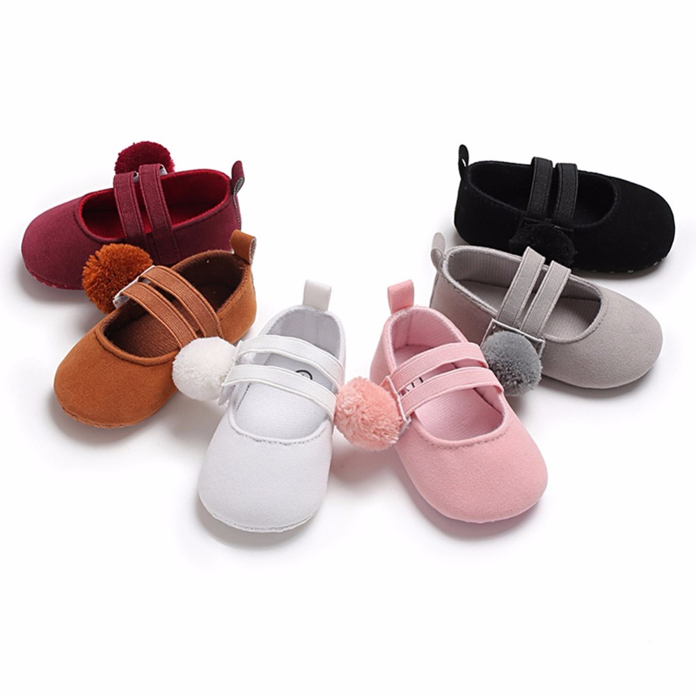 Toddler Baby Girl Soft Plush Princess Shoes cute pom shoes Infant Prewalker New Born Baby Shoes for 0-18M girls