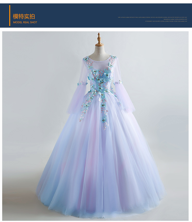 Celtic Wedding Dresses White Pale Blue Medieval Bridal: 100%real Light Lavender Embroidery Butterfly Medieval