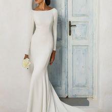 Новинка, простое скромное свадебное платье из крепа с длинным рукавом и вырезом лодочкой, элегантное женское платье LDS с рукавами, свадебное платье в стиле бохо