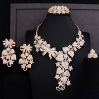 GODKI Luxury Pumpkin Leaf Flower Cubic Zircon Earring Necklace Set Dubai Gold Jewelry sets For Women African Beads Jewelry Sets