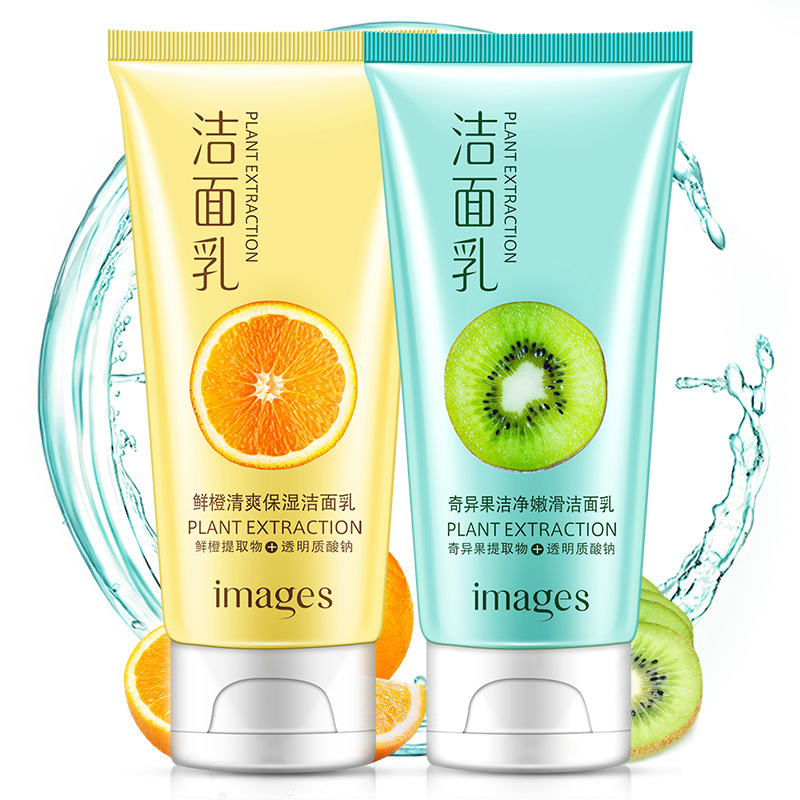 BILDER Orange/Kiwi Erfrischend und Feuchtigkeitsspendende Reinigungs Gesicht Reinigung Anlage Extrakt Gesichts Reiniger Tiefe Feuchtigkeitsspendende Haut