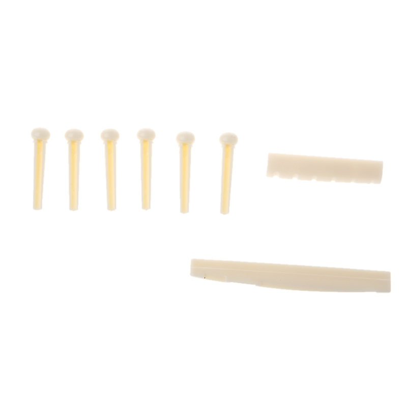 1 Set Beige <font><b>Acoustic</b></font> <font><b>Guitar</b></font> <font><b>Saddle</b></font> <font><b>Bridge</b></font> Pins Nut Parts Musical Instruments New image
