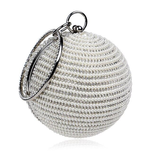 2018 Новая модная жемчужина для женщин Алмазный бисер Tellurion вечерняя сумка Свадебная круглая бальная сумка на запястье клатч кошелек сумка