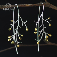 Lotus Fun Real 925 Sterling Silver Natural Creative Handmade Fine Jewelry Statement Tree Fashion Drop Earrings