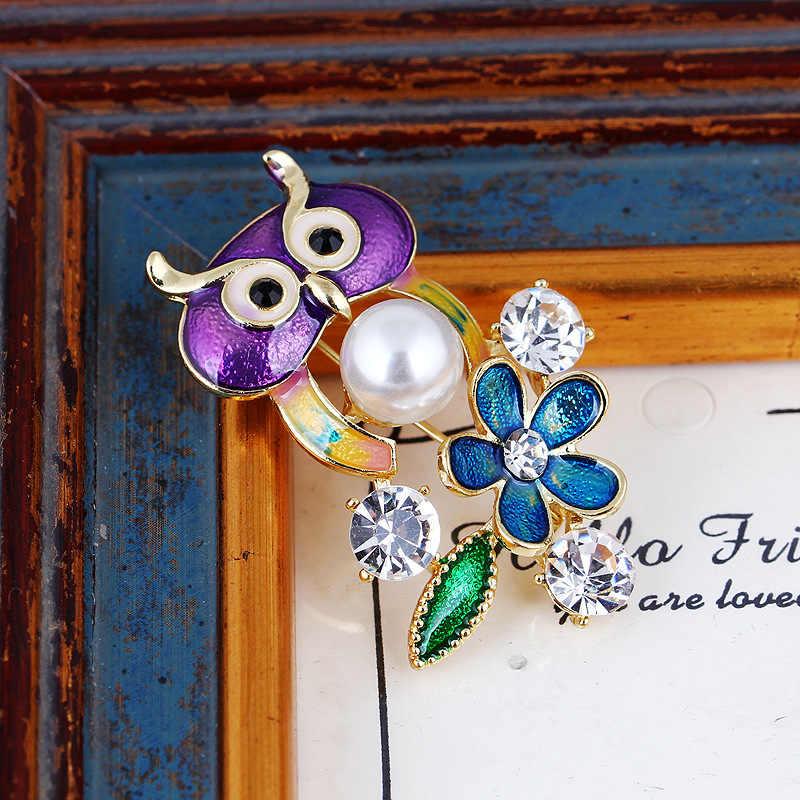 RHao Enamel ungu Owl Biru Bunga mutiara Kristal Hewan Bros Pria Wanita Gadis Gaun kerah syal pakaian Korsase pin perhiasan
