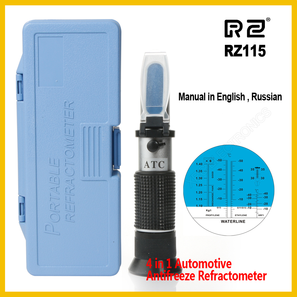 RZ Genuine Retail Package Automotive Antifreez Refractometer Freezing point Urea Adblue Battery fluid Glass water ATC Tool RZ115 hand held optical 4 in 1 car adblue urea concentration testing refractometer battery fluid ethylene propylene glycol atc