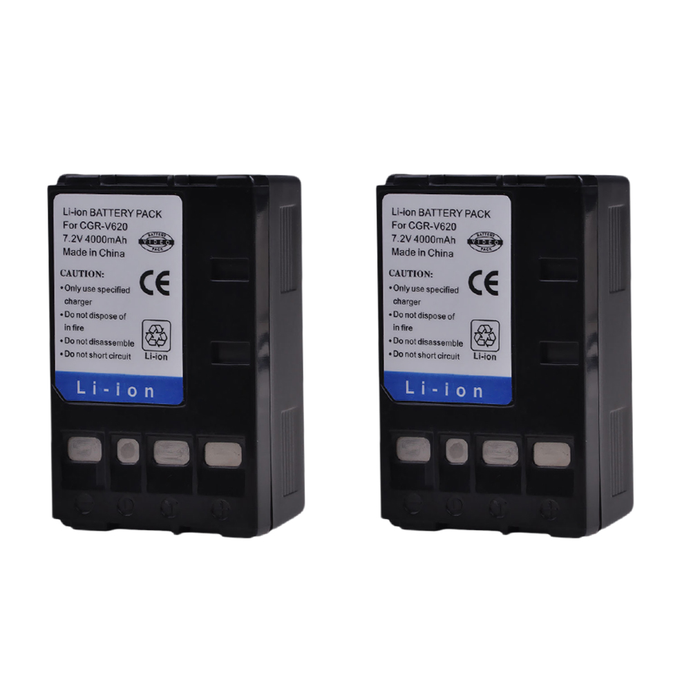 Tectra 4000mAh 2pcs CGR-V620 CGR V620 CGRV620 Battery for Panasonic NV-RX14 NV-RX17 NV-<font><b>RX18</b></font> NV-RX24 NV-VC, NV-RX Battery image