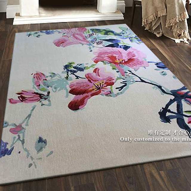 Pink flowers on carpets wool ingredient for corridor parlor living pink flowers on carpets wool ingredient for corridor parlor living room bedroom mat rugs decoration full mightylinksfo