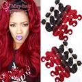 Ombre Brazilian Virgin Hair Ombre Body Wave Bundles Ombre Burgundy Brazilian Hair 4 Bundles Red Brazilian Hair Ombre