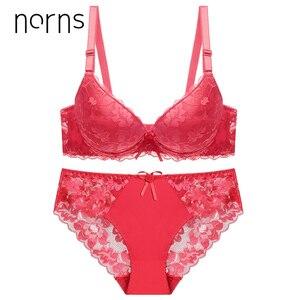 Image 4 - Norns Nữ Plus Kích Thước Bộ Đồ Lót Trong Suốt Push Up Đỏ Đồ Lót Áo Ngực Phối Ren Thêu Thân Mật Áo Lót Bộ Đồ Lót Ren Sexy