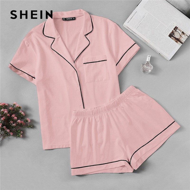 SHEIN Pink Contrast Piping Pocket Front Shirt Pajama Set Short Sleeve Lapel Top With Elastic Waist Shorts Womens Two Piece Sets