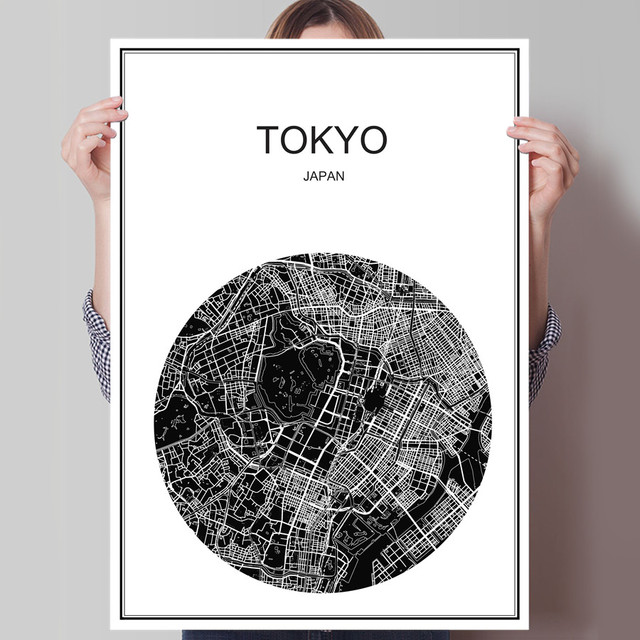 Japan tokyo modern world map city poster abstract print picture oil painting canvas coated paper cafe
