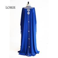 LORIE Muslim Evening Dress High Neck Beaded with Rhinestones A Line Chiffon Royal Blue Prom Dress for Party vestido de festa
