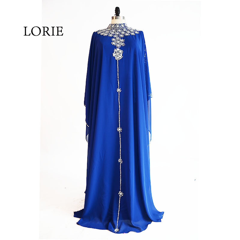 LORIE Muslim   Evening     Dress   High Neck Beaded with Rhinestones A-Line Chiffon Royal Blue Prom   Dress   for Party vestido de festa