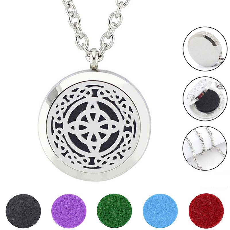Free Felt pads and Chain! Wholesale 30mm Magnetic Silver Color 316L Stainless Steel Aromatherapy Essential Oil Diffuser Necklace