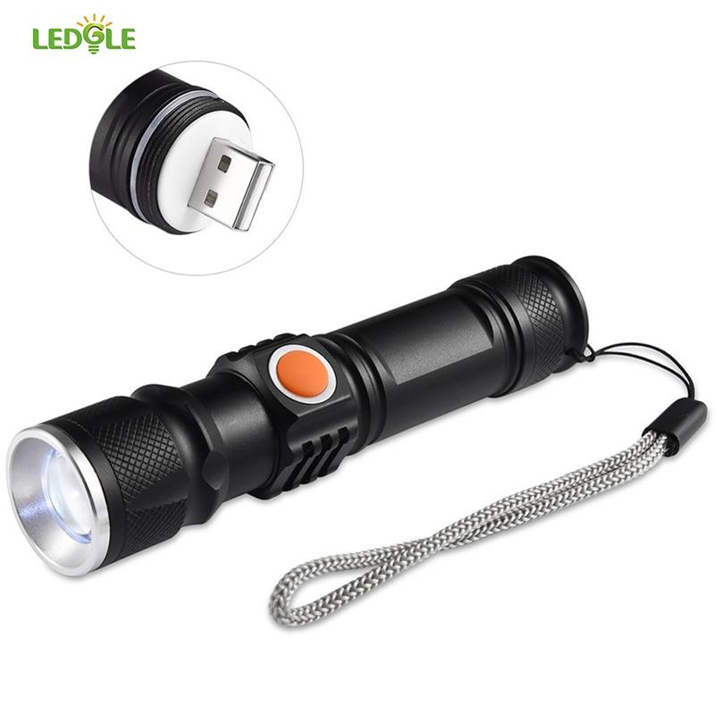 LEDGLE Aluminum Alloy Emergency Flashlights 500Lumens 3 Modes High quality LED Flashlight USB Rechargeable Torch Light