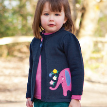 Autumn Winter Girls Cardigan Sweater Children Cartoon Animal Elephant Casual Long sleeve Knitted sweater Children Sweater
