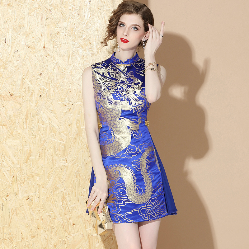 Robes Vintage sans manches dragon chinois traditionnel Cheongsam qipao