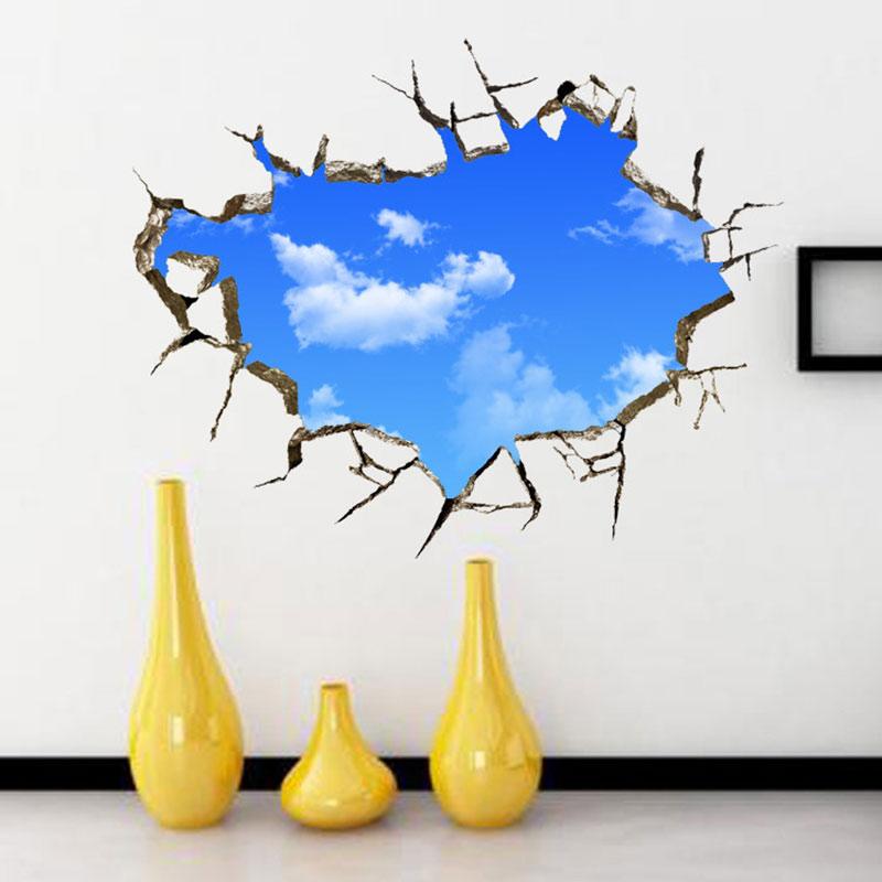 3D Window Landscape Blue Sky Cloud Wall Sticker House Living Room Roof Home Decor PVC Decals TB Sale