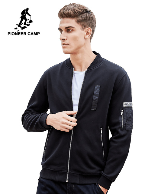 Pioneer Camp autumn winter Casual zipper men hoodies brand clothing fashion thick fleece sweatshirt male 100% cotton 520032