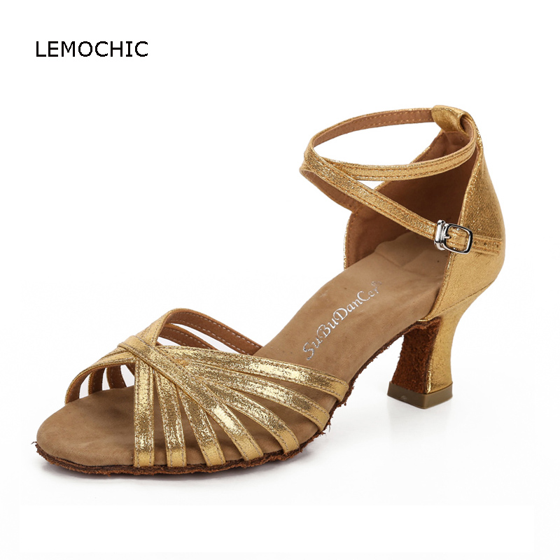 LEMOCHIC ladies professional belly salsa tango shoes suitable for summer good quality kitten heels soft sole women dancing shoes