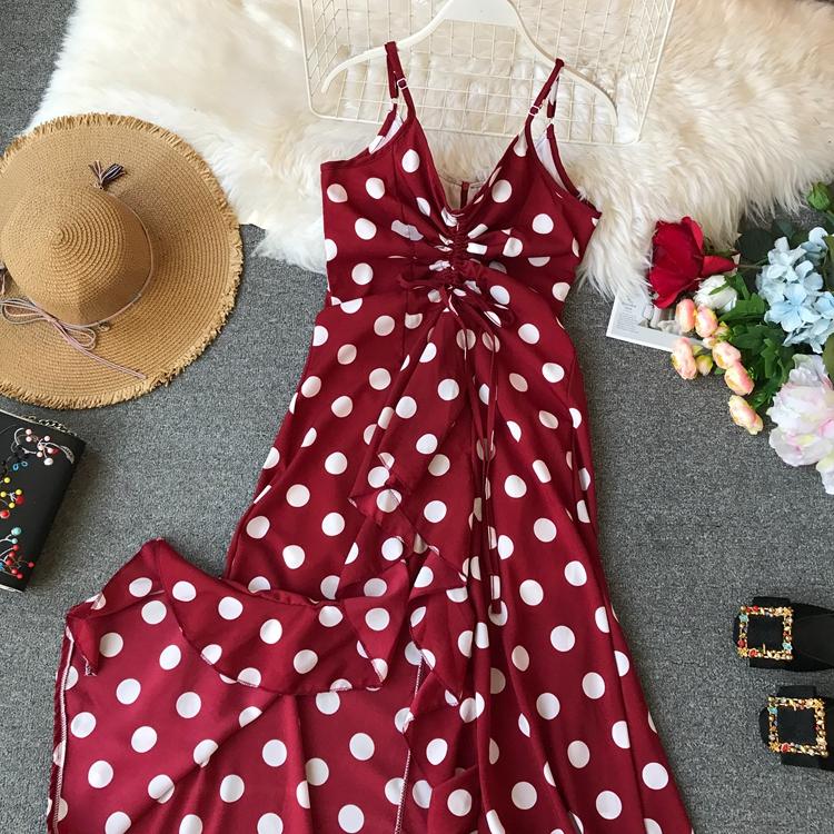 Women Beach Red Dress 2019 Summer New Seaside Holiday Sleeveless Dot Print Casual Vestidos E496 52