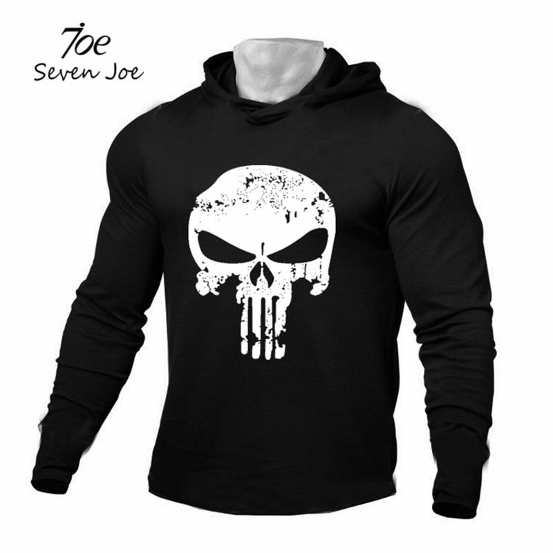 Seven Joe Men gym Bodybuilding Hoodies Sweatshirt Pullover Hip Hop Brand Clothing Sportswear Cotton Workout Thin hooded sweatshirt