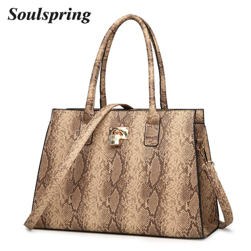 все цены на New Fashion Serpentine Women Handbags Luxury Brand Women Lock Bags Large Tote Bag Female Shoulder Bags Designer Big Hand Bag Sac онлайн