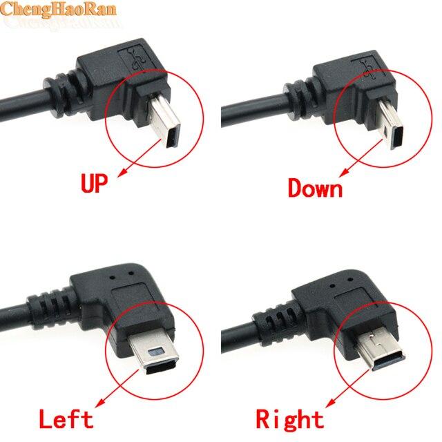 ChengHaoRan 1 adet USB A dişi Sol Açılı 90 Derece Mini USB Erkek OTG Ana Bilgisayar Kablosu için 14 cm araba