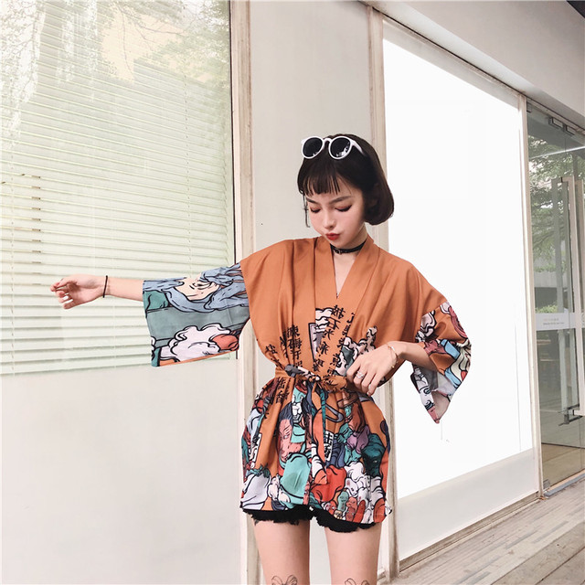 Japanese Harajuku Vintage Female Man Kimono Cardigan Ulzzang Kawaii Graphic Oversized Tops Shirts Street Fashion Bandage Blouse 4