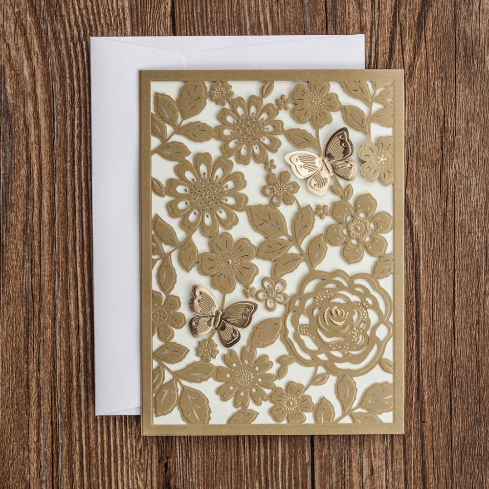Gold color cardstock paper - Laser Cut Wedding Invitations Cards With Butterfly Red White Gold Flower Paper Cardstock For Birthday Party
