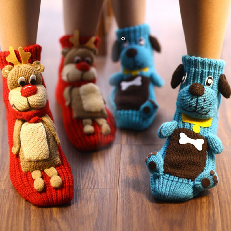 1 Pair Christmas Socks 3D Animal Dog Household Adult Women Socks Winter Warm anti-slip Floor Socks H9