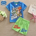Neat wholesale new baby boy suit set boy image printing Character short summer T-shirt and short pants 2016 cotton Suits TBS5522