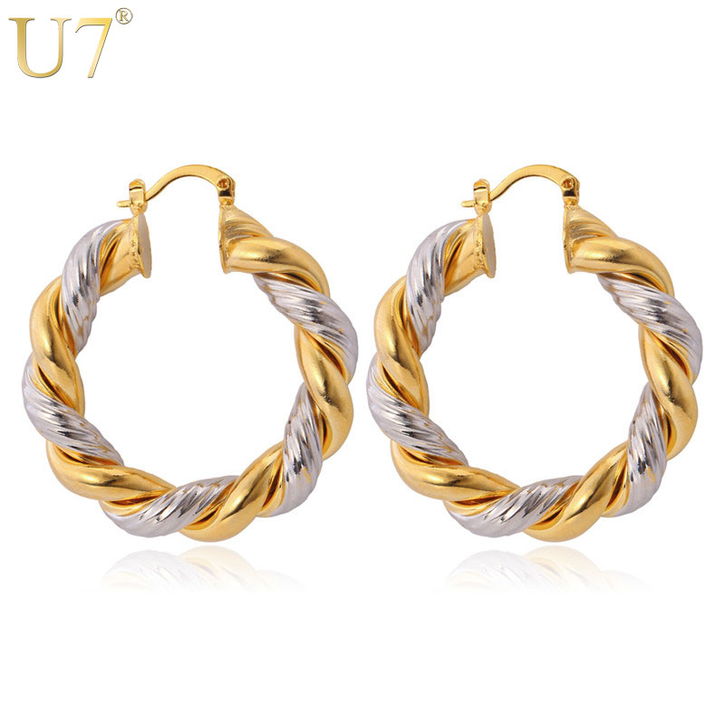U7 Unique Mix Color Hoop Pendientes Color dorado Cobre Joyería de moda Al por mayor Twisted Round Huggie Earrings para Mujeres E363