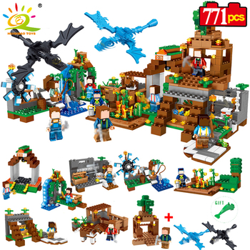 Huiqibao 771 pcs 8in1 minecrafted manor estate house 내 세계 모델 빌딩 블록 벽돌 세트 legoingly city friend
