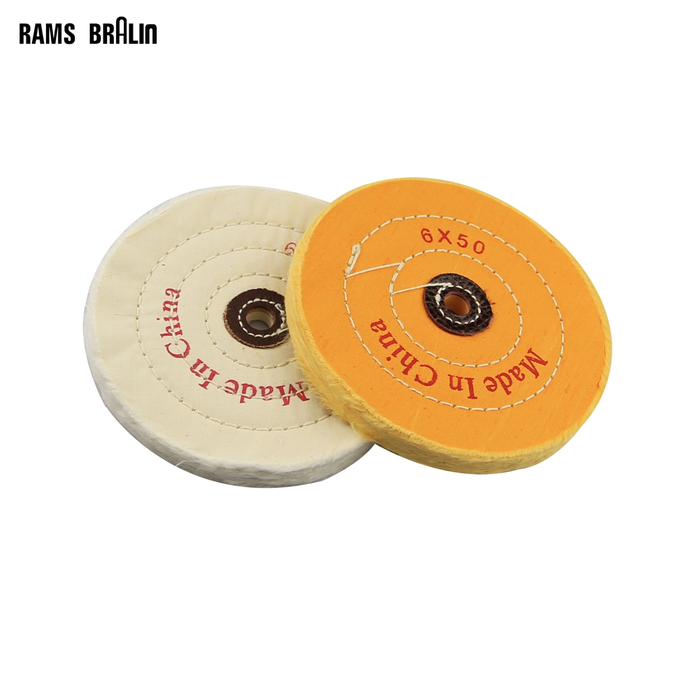2 pieces 6/150mm Cotton Stitch Buffing Cloth Wheel for Mirror Polishing Jewelry Metal abrasive polishing disc for metals fragile non metal grinding wheel buffing disk for optical glass porcelain ferrite jewels gems