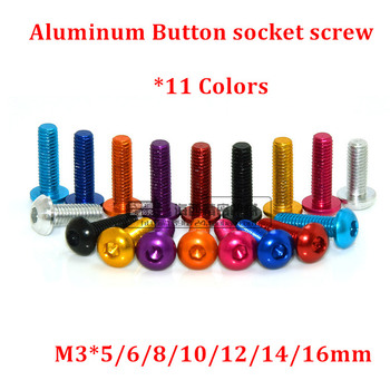 10 Uds M3 tornillo de botón de aluminio M3 * 5/6/8/10/12/14/16mm cabeza de botón hexagonal Tornillos de aluminio modelo