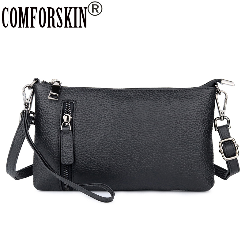 CMFORSKIN Luxurious 100% Cowhide Leather Day Clutches 2018 New Arrivals European and American Small Size Women Messenger Bags