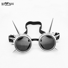 Retro Punk Svetsning Cyber ​​Round Goggles Gothic Steampunk Style Cosplay Antik Spikes Eyewear Rivet Glasses Unique