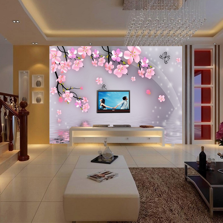 Modern Chinese pink plum 3d stereoscopic television s