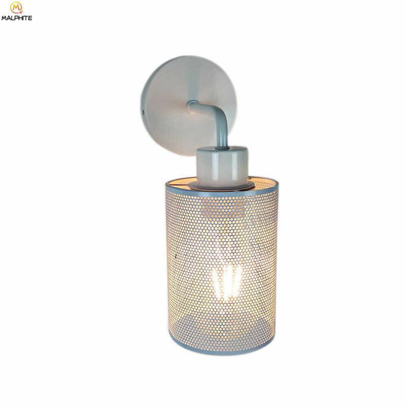 Американская железная сетка настенная лампа Скандинавская гостиная пеньковая веревка настенный светильник Промышленный Декор кафе бар коридор ванная комната светильники