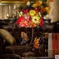 -Estilo europeu jardim quente borboleta romântico sala de estar quarto retro lâmpada de cabeceira Dupla Borboleta Tiffany lâmpada de mesa