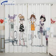 Фотография Senisaihon 3D Blackout Curtains White 4 Beautiful Little Beauty Pattern Flannel Girl Curtains Window Curtains for Living Room
