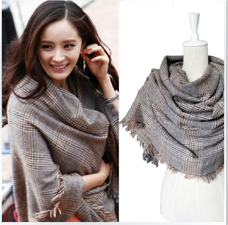 200*90 cm South Korean Plaid Yang Mi With Shawl Autumn Winter Dual-purpose Couples Men And Women Long Houndstooth Scarf