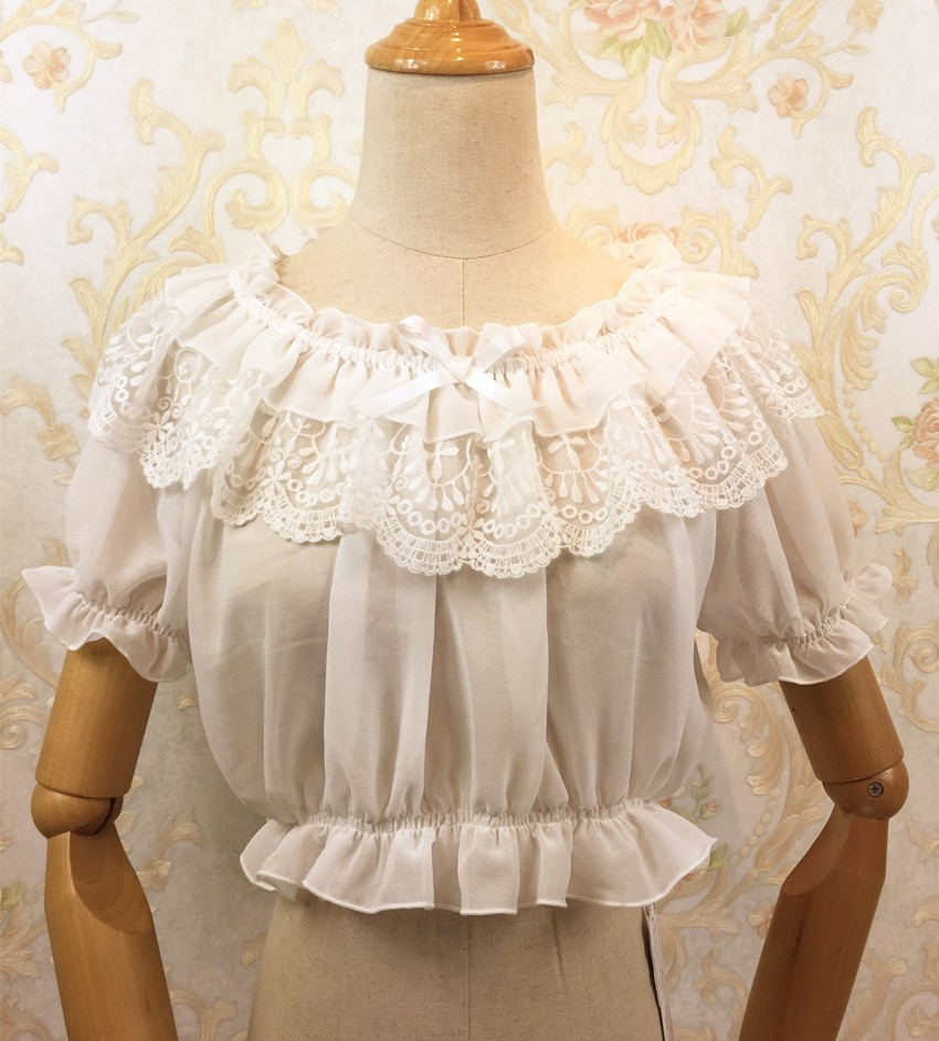 16 New Women Tube Top Loyal Princess Lace Embroidery Ruffled Puff Sleeve Ruffle Basic Vintage Tube Tops White Black Pink Red 1