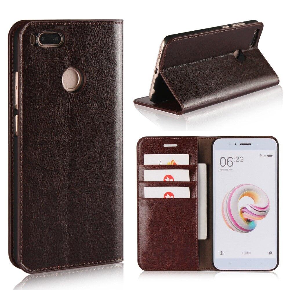 Uftemr Geniune Leather Flip Case for Xiaomi Mi A1 Wallet Funda Book Cover for Xiaomi Mi A1 Global Version Xiomi MiA1 5X Coque