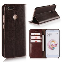 Luxury Retro Genuine Leather For Xiaomi MI 5X Case Crazy Horse Skin Flip Wallet Cover Case
