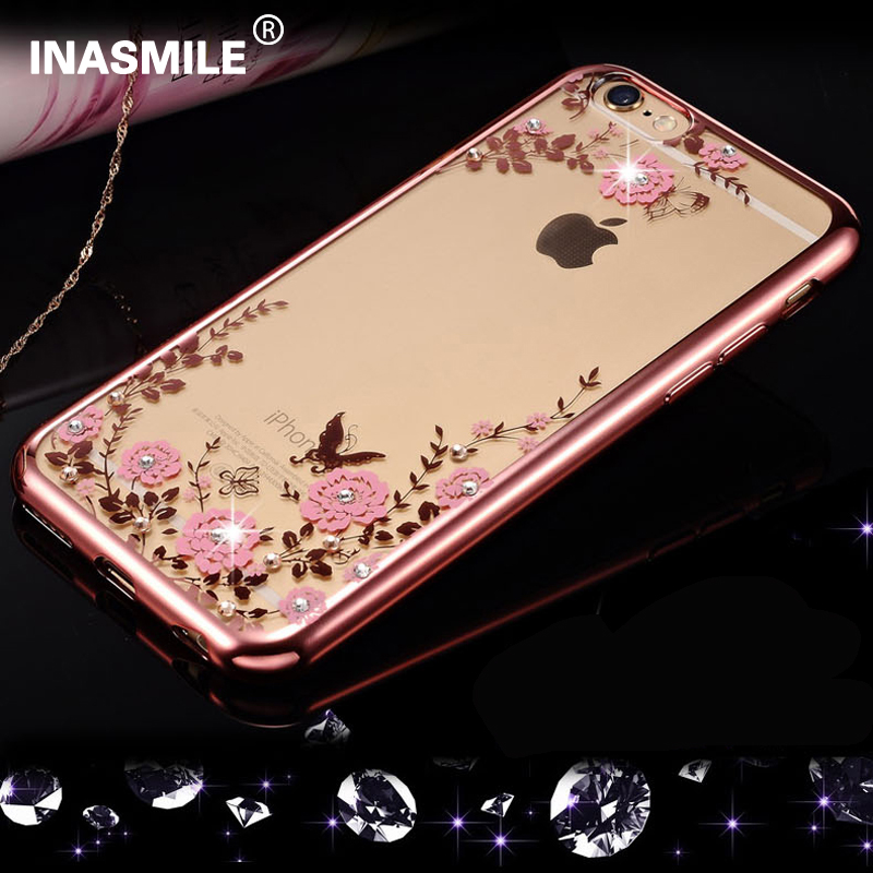 New Rhinestones Luxury Plating soft TPU Case For iPhone 7 Plus Cases for iPhone 6 6S Cases 6s Plus 5s 5 Silicone Case Back Cover
